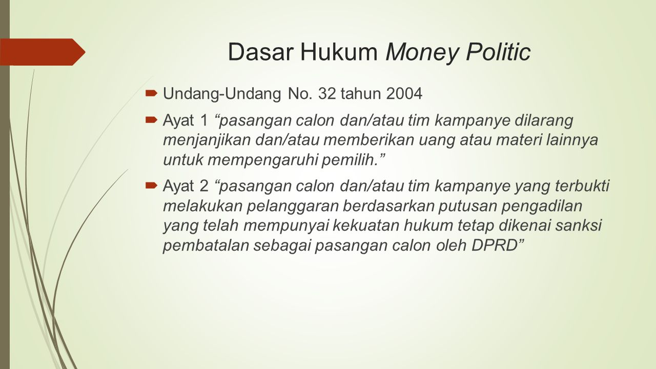 Dasar Hukum Money Politic
