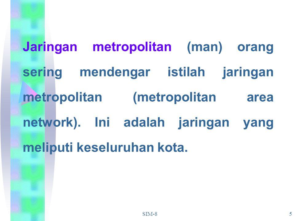 Jaringan metropolitan (man) orang sering mendengar istilah jaringan metropolitan (metropolitan area network). Ini adalah jaringan yang meliputi keseluruhan kota.