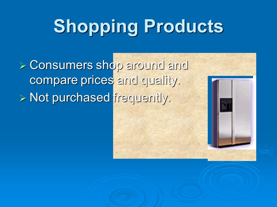 Shopping Products Consumers shop around and compare prices and quality. Not purchased frequently.