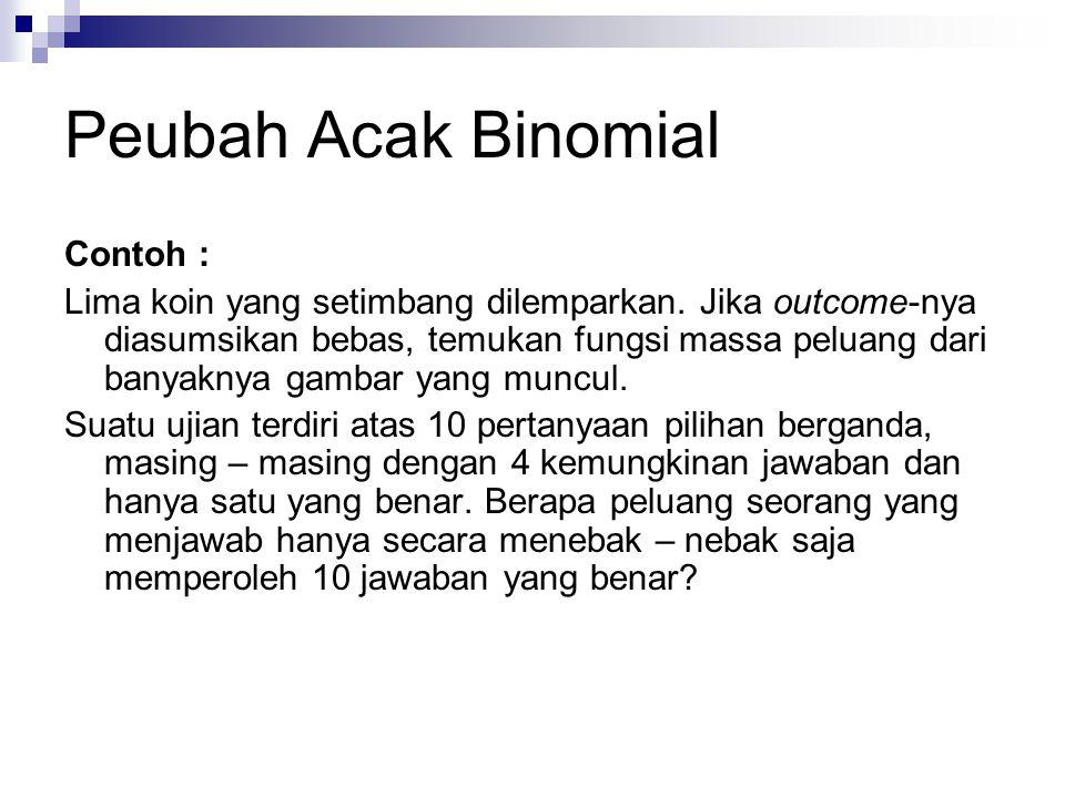 Peubah Acak Binomial Contoh :