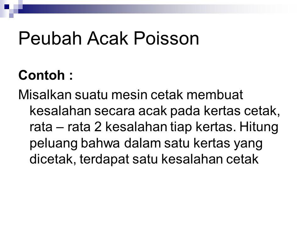 Peubah Acak Poisson Contoh :
