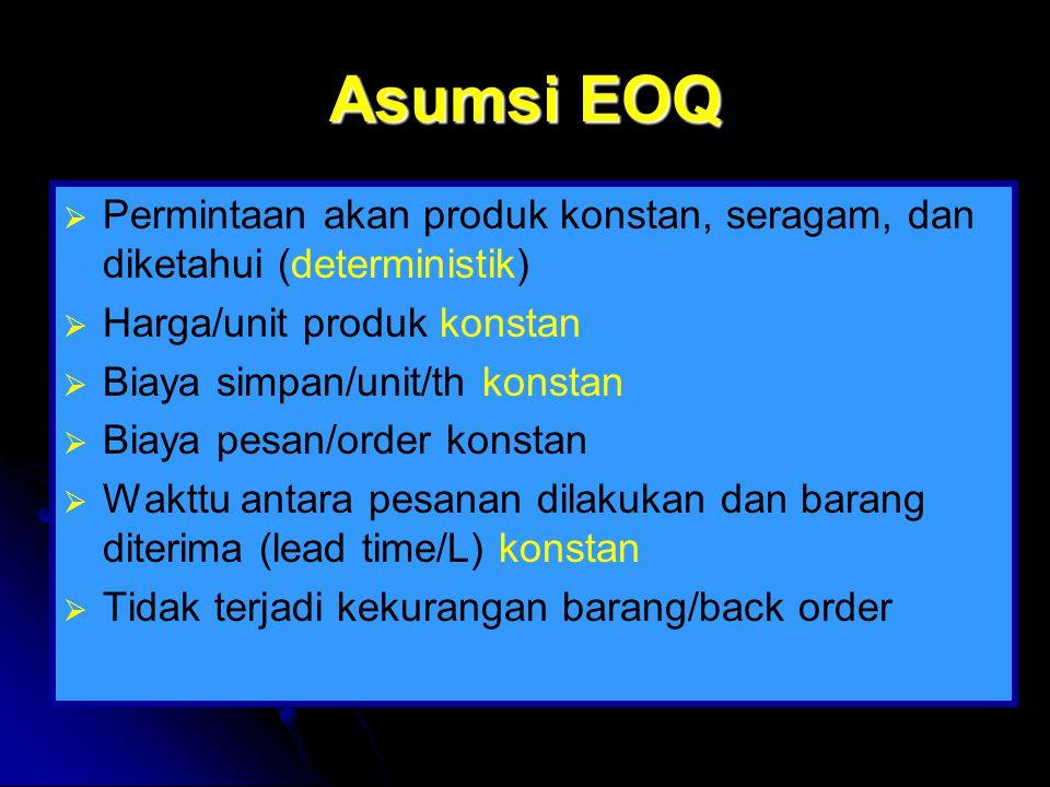 Asumsi EOQ Permintaan akan produk konstan, seragam, dan diketahui (deterministik) Harga/unit produk konstan.