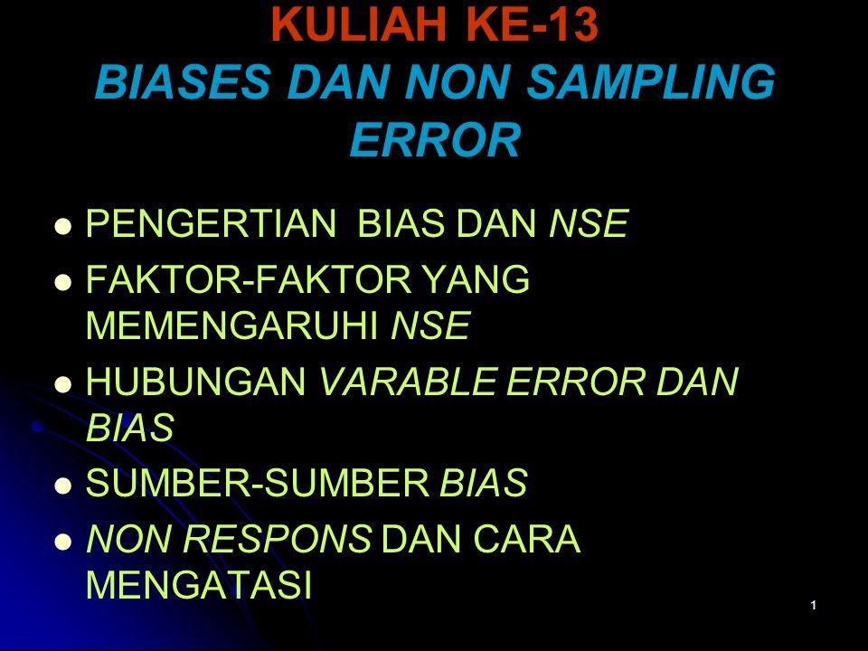 KULIAH KE-13 BIASES DAN NON SAMPLING ERROR