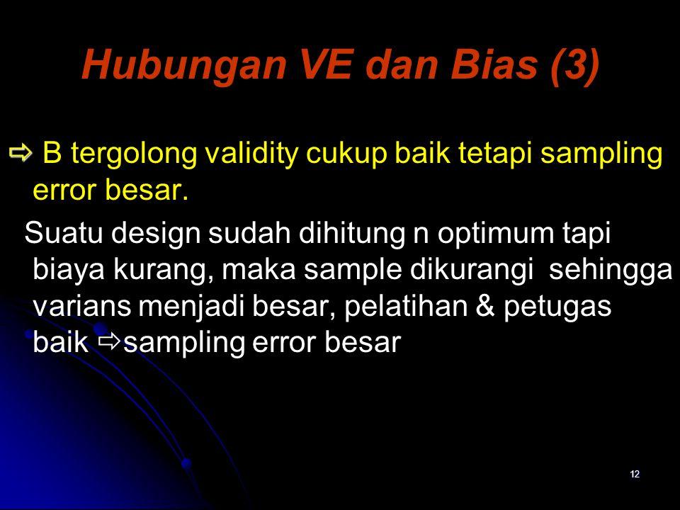 Hubungan VE dan Bias (3)  B tergolong validity cukup baik tetapi sampling error besar.