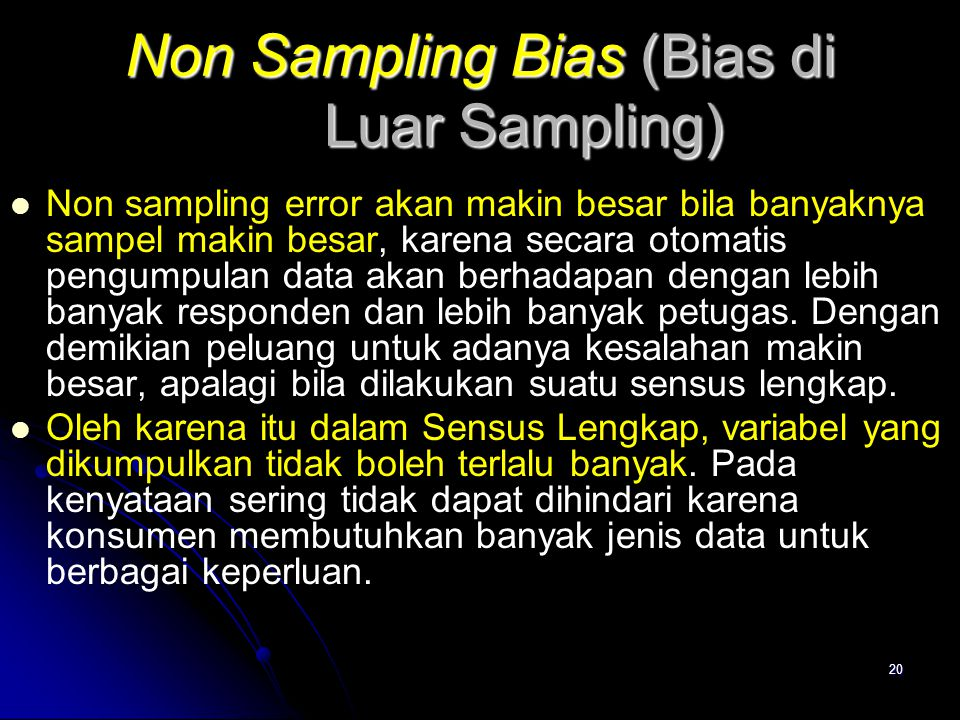 Non Sampling Bias (Bias di Luar Sampling)