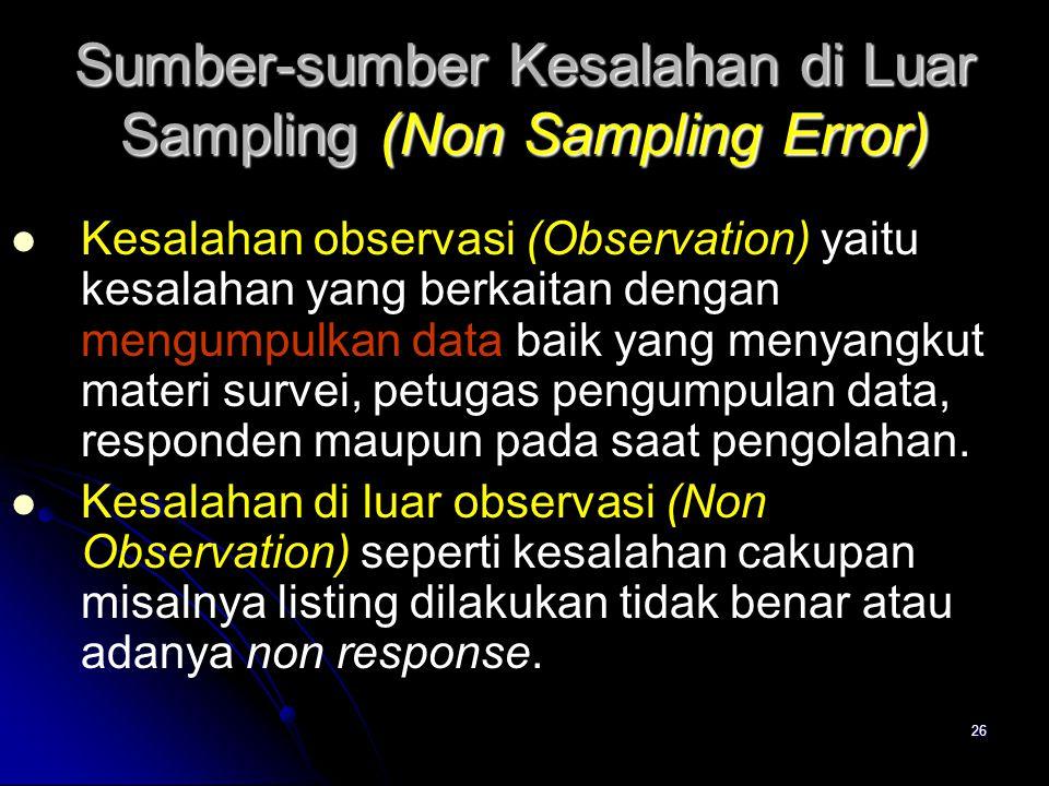 Sumber-sumber Kesalahan di Luar Sampling (Non Sampling Error)