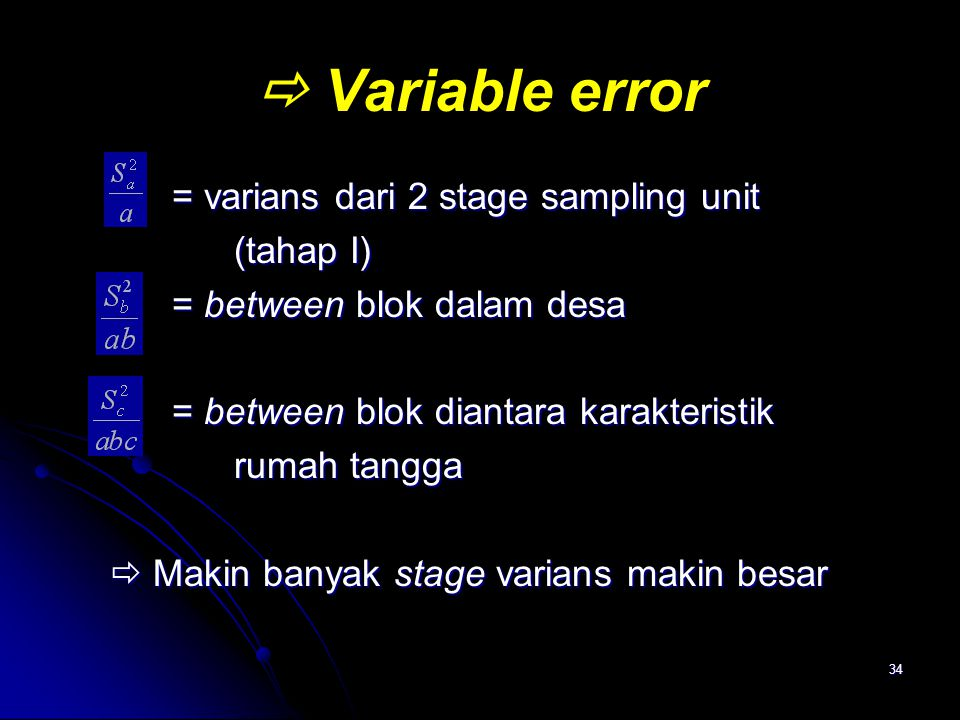  Variable error = varians dari 2 stage sampling unit (tahap I)