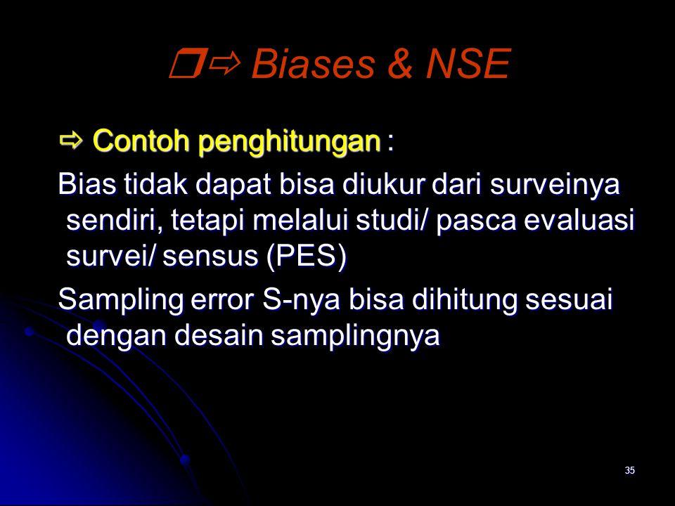  Biases & NSE  Contoh penghitungan :