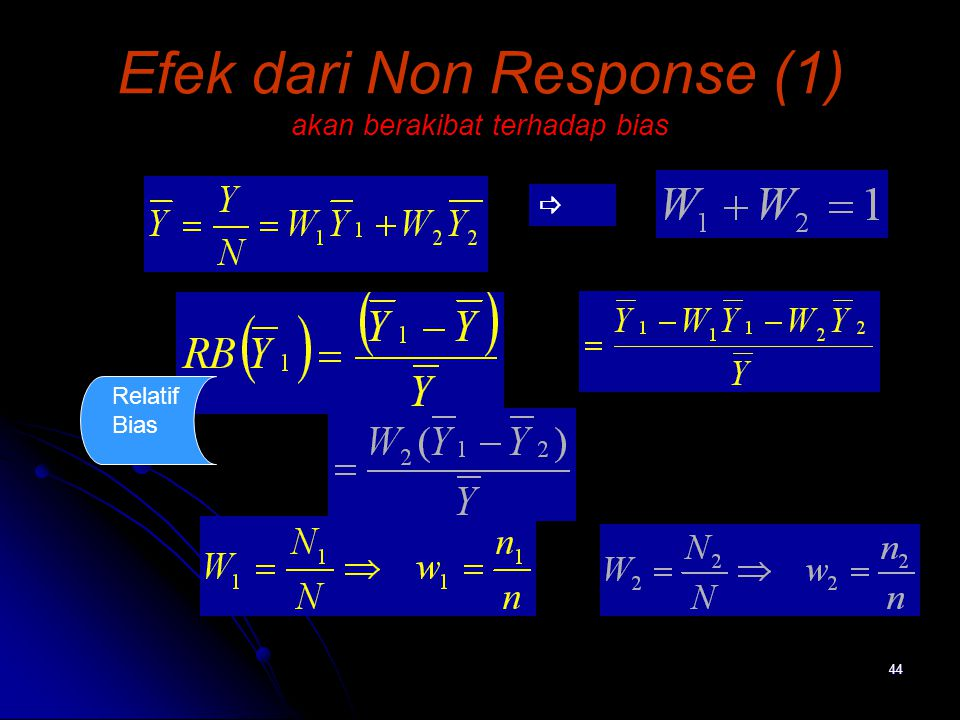 Efek dari Non Response (1) akan berakibat terhadap bias