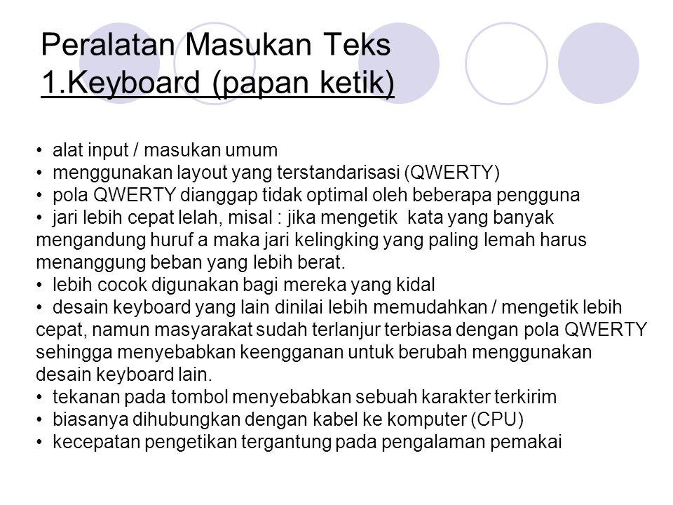 Peralatan Masukan Teks 1.Keyboard (papan ketik)