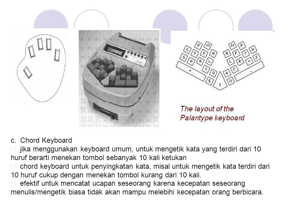 c. Chord Keyboard ƒ jika menggunakan keyboard umum, untuk mengetik kata yang terdiri dari 10.