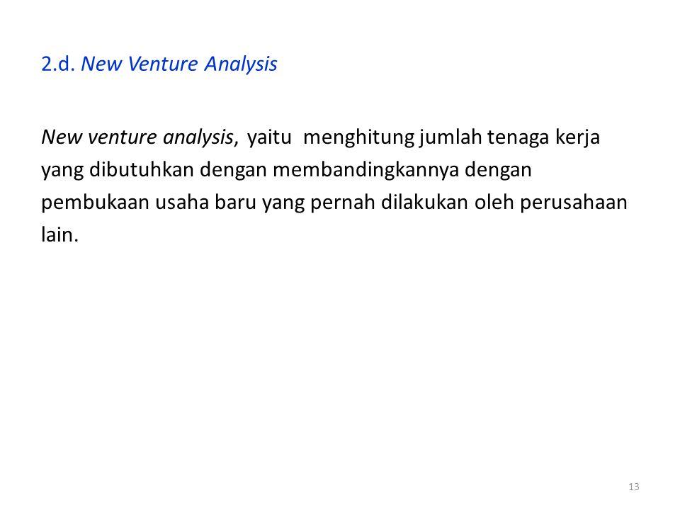 2.d. New Venture Analysis New venture analysis, yaitu menghitung jumlah tenaga kerja. yang dibutuhkan dengan membandingkannya dengan.