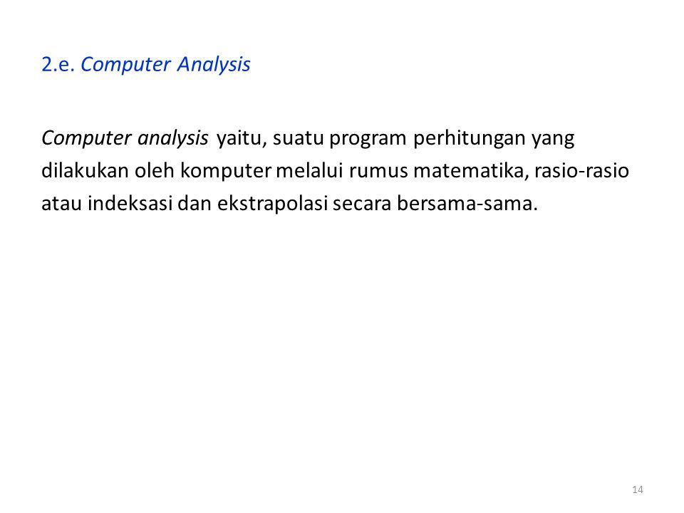 2.e. Computer Analysis Computer analysis yaitu, suatu program perhitungan yang. dilakukan oleh komputer melalui rumus matematika, rasio-rasio.