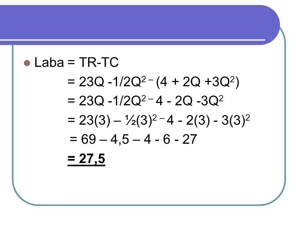 Laba = TR-TC = 23Q -1/2Q2 – (4 + 2Q +3Q2) = 23Q -1/2Q2 – 4 - 2Q -3Q2. = 23(3) – ½(3)2 – 4 - 2(3) - 3(3)2.