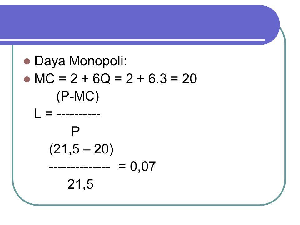 Daya Monopoli: MC = 2 + 6Q = 2 + 6.3 = 20. (P-MC) L = ---------- P. (21,5 – 20) -------------- = 0,07.