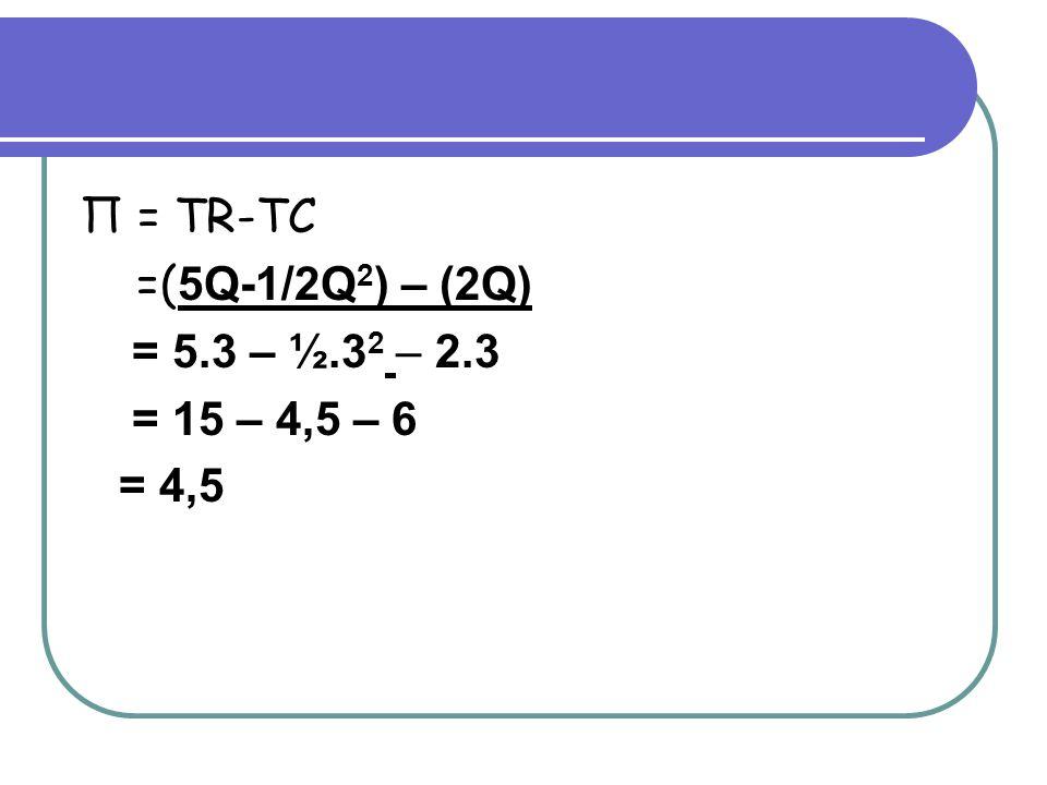 Π = TR-TC =(5Q-1/2Q2) – (2Q) = 5.3 – ½.32 – 2.3 = 15 – 4,5 – 6 = 4,5