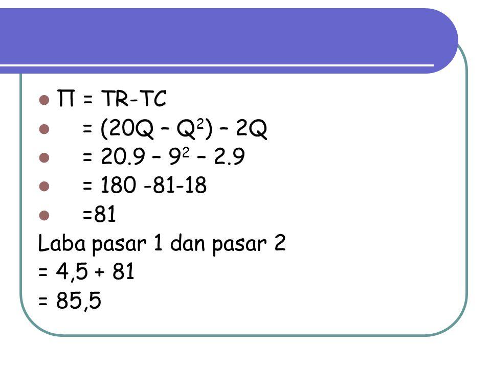 Π = TR-TC = (20Q – Q2) – 2Q. = 20.9 – 92 – 2.9. = 180 -81-18. =81. Laba pasar 1 dan pasar 2. = 4,5 + 81.