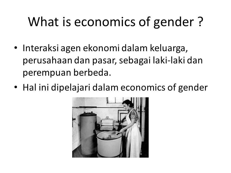 What is economics of gender