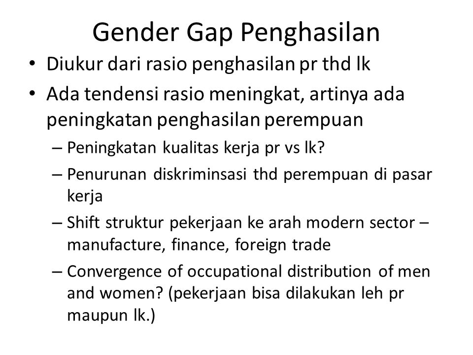 Gender Gap Penghasilan