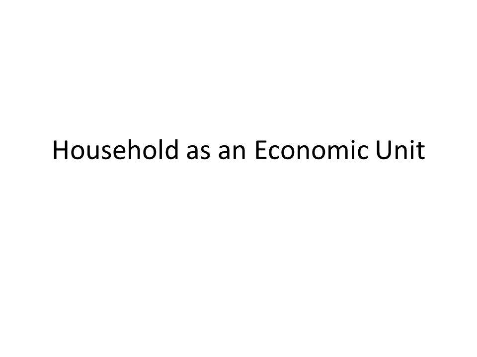 Household as an Economic Unit