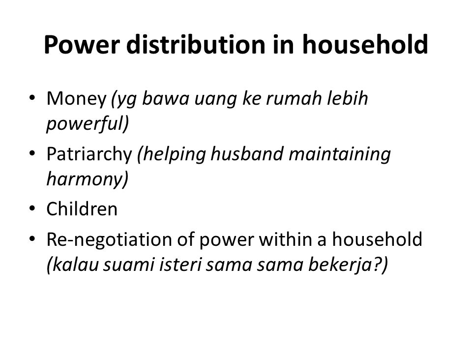 Power distribution in household