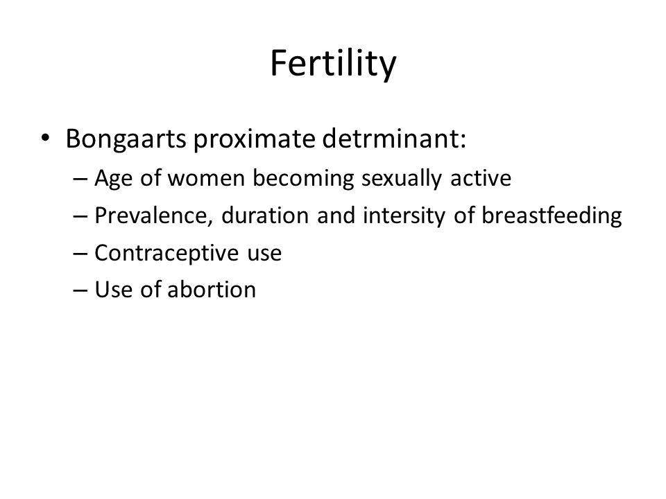 Fertility Bongaarts proximate detrminant: