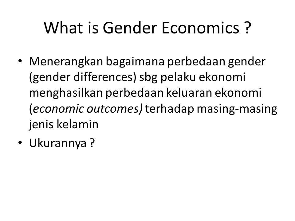 What is Gender Economics