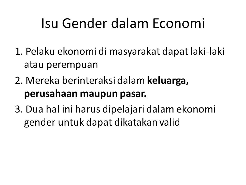 Isu Gender dalam Economi