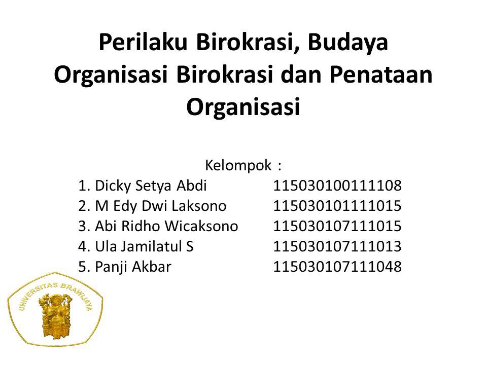 Perilaku Birokrasi, Budaya Organisasi Birokrasi dan Penataan Organisasi