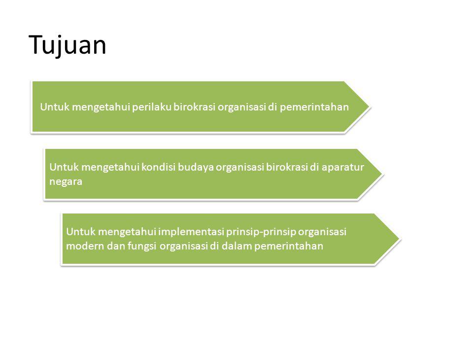 Untuk mengetahui perilaku birokrasi organisasi di pemerintahan