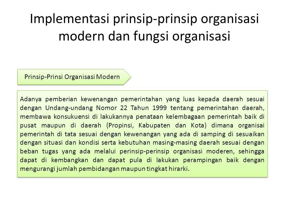 Implementasi prinsip-prinsip organisasi modern dan fungsi organisasi