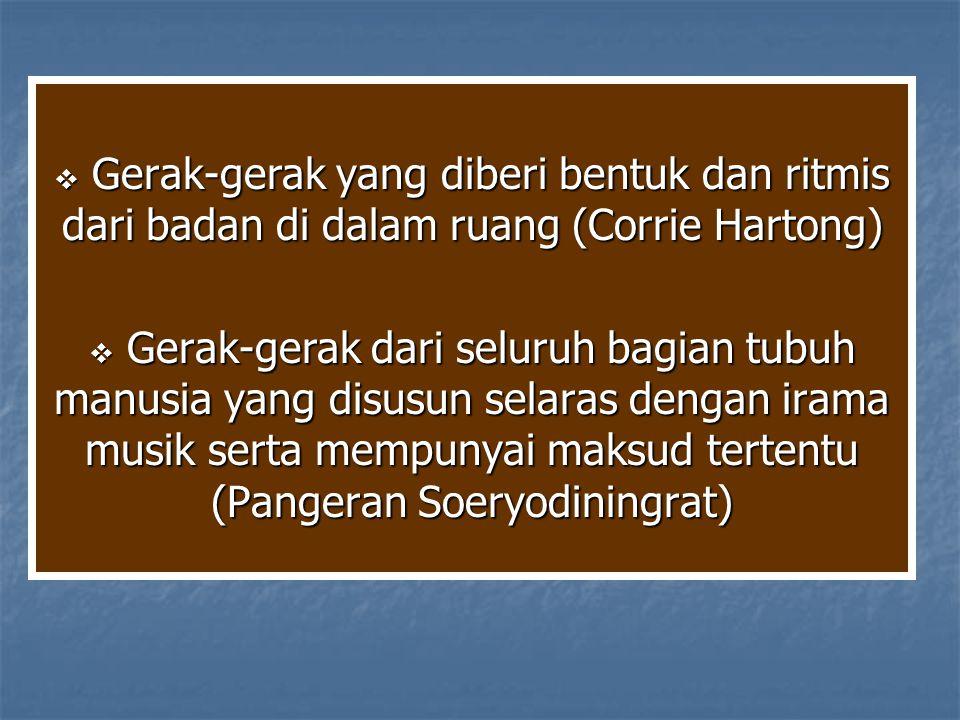 Gerak-gerak yang diberi bentuk dan ritmis dari badan di dalam ruang (Corrie Hartong)
