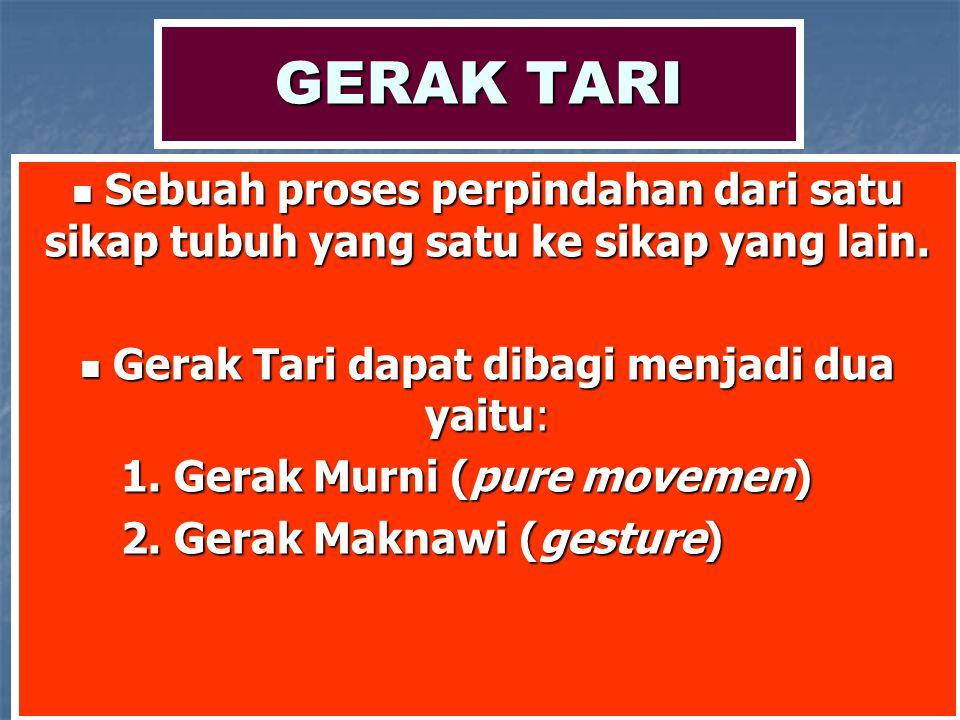 Gerak Tari dapat dibagi menjadi dua yaitu: