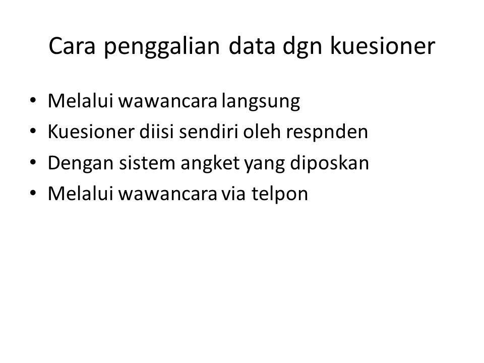 Cara penggalian data dgn kuesioner