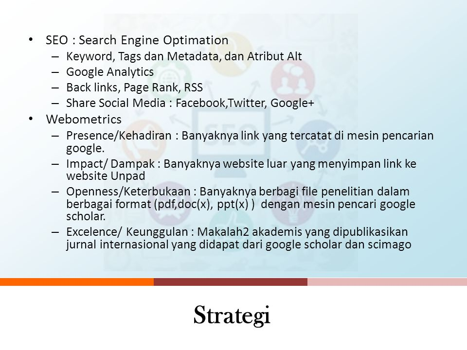 Strategi SEO : Search Engine Optimation Webometrics