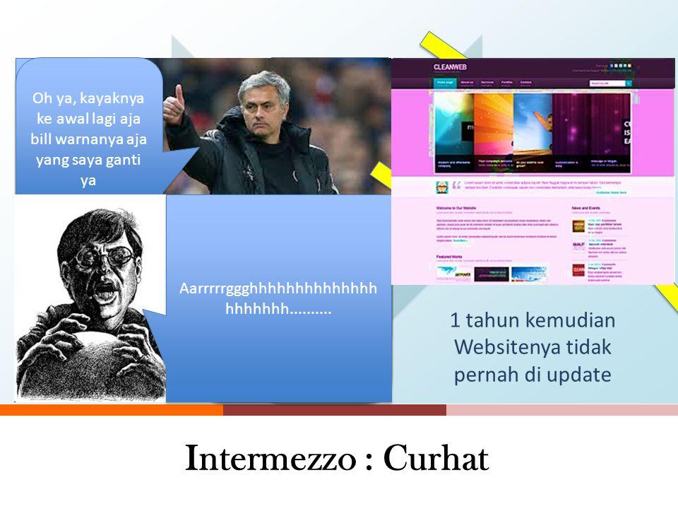 Intermezzo : Curhat 1 tahun kemudian Websitenya tidak pernah di update