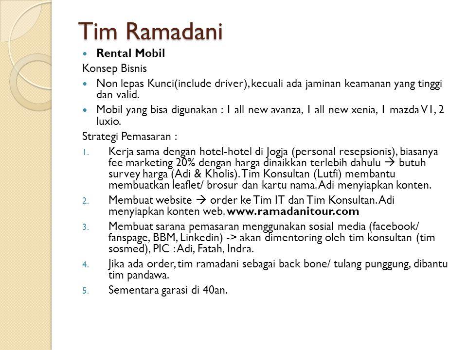 Tim Ramadani Rental Mobil Konsep Bisnis