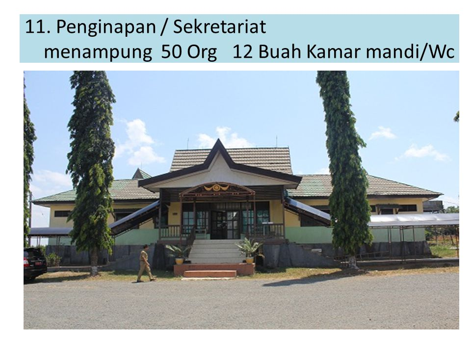 11. Penginapan / Sekretariat menampung 50 Org 12 Buah Kamar mandi/Wc