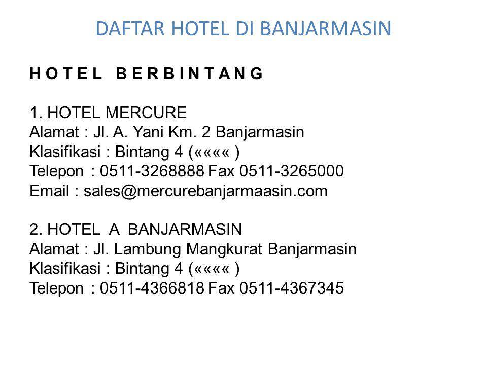DAFTAR HOTEL DI BANJARMASIN