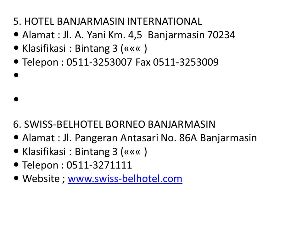 5. HOTEL BANJARMASIN INTERNATIONAL