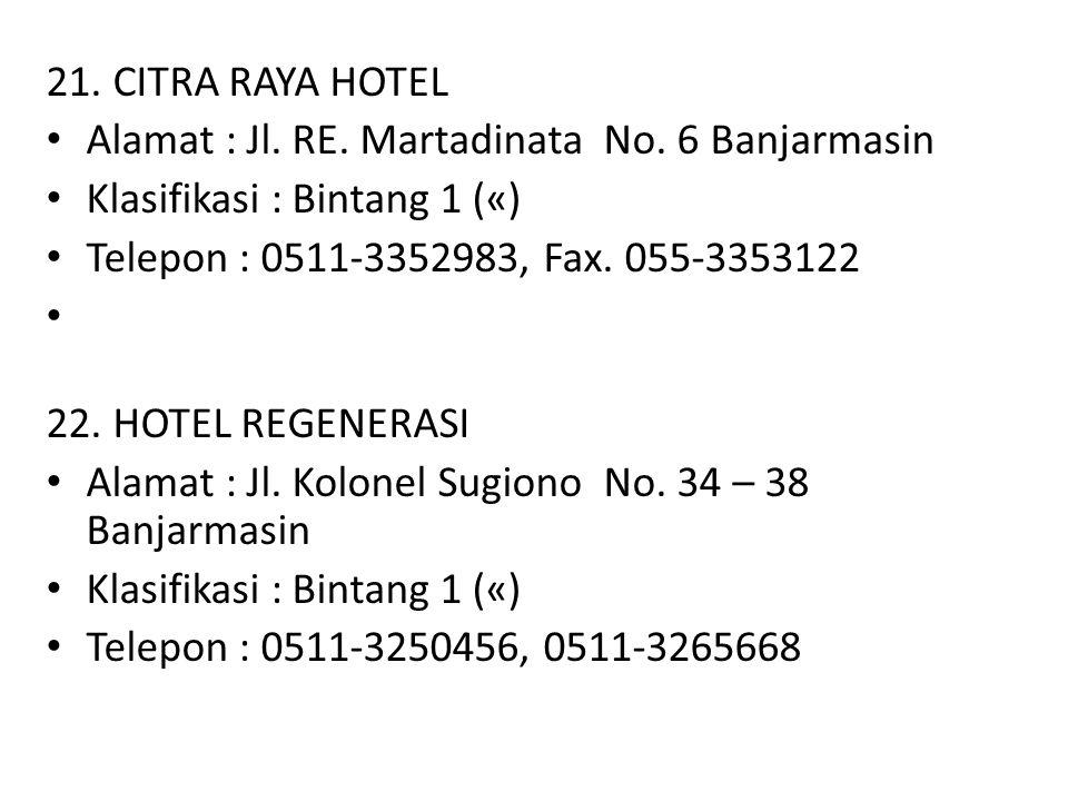21. CITRA RAYA HOTEL Alamat : Jl. RE. Martadinata No. 6 Banjarmasin. Klasifikasi : Bintang 1 («) Telepon : 0511-3352983, Fax. 055-3353122.