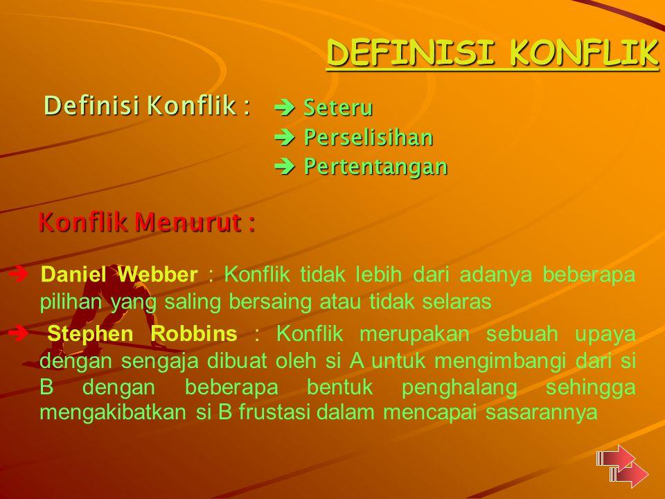 DEFINISI KONFLIK Definisi Konflik : Konflik Menurut :  Seteru