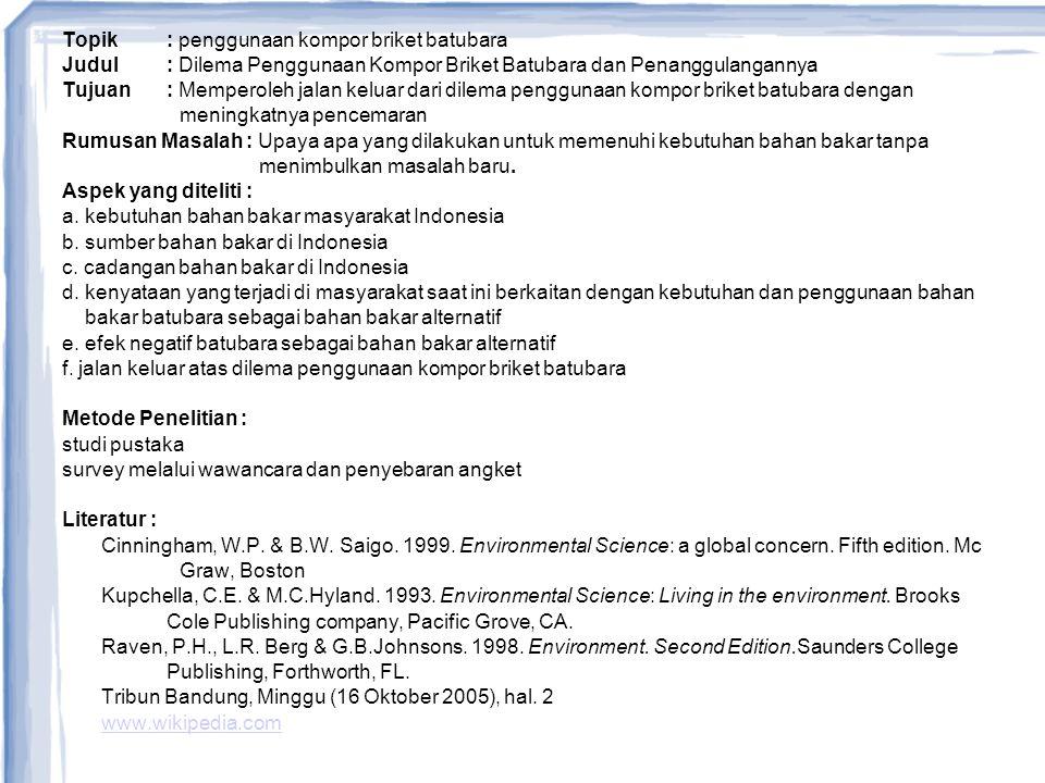 Topik : penggunaan kompor briket batubara