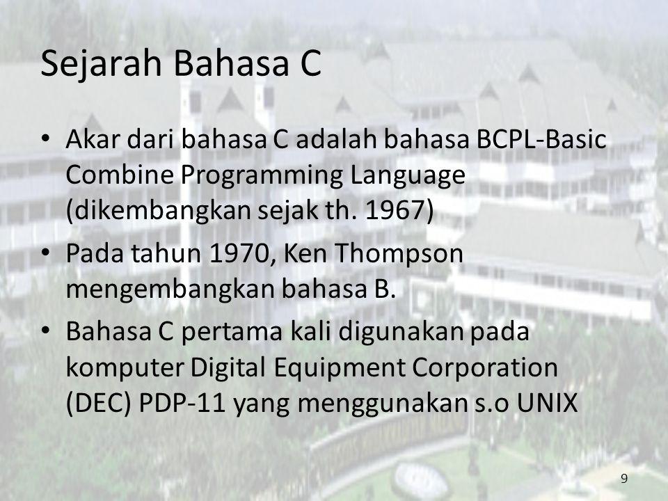 Sejarah Bahasa C Akar dari bahasa C adalah bahasa BCPL-Basic Combine Programming Language (dikembangkan sejak th. 1967)