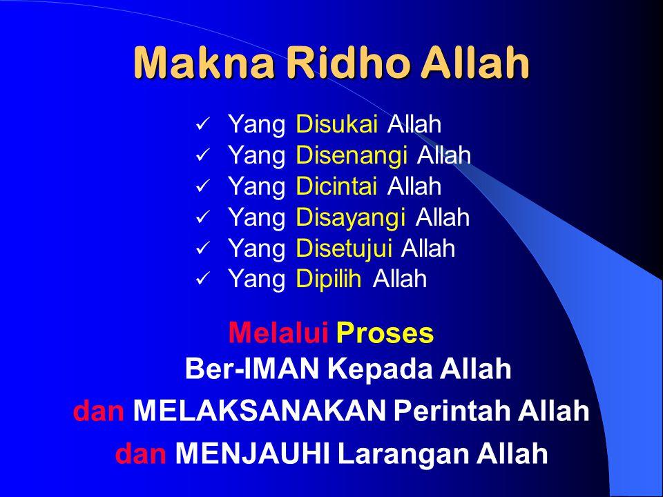 Makna Ridho Allah Melalui Proses Ber-IMAN Kepada Allah