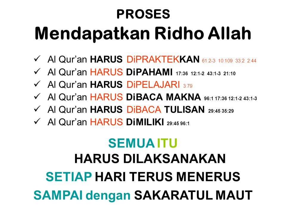 PROSES Mendapatkan Ridho Allah