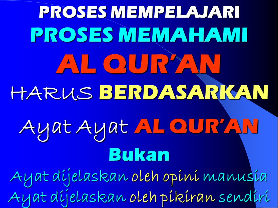 AL QUR'AN HARUS BERDASARKAN Ayat Ayat AL QUR'AN