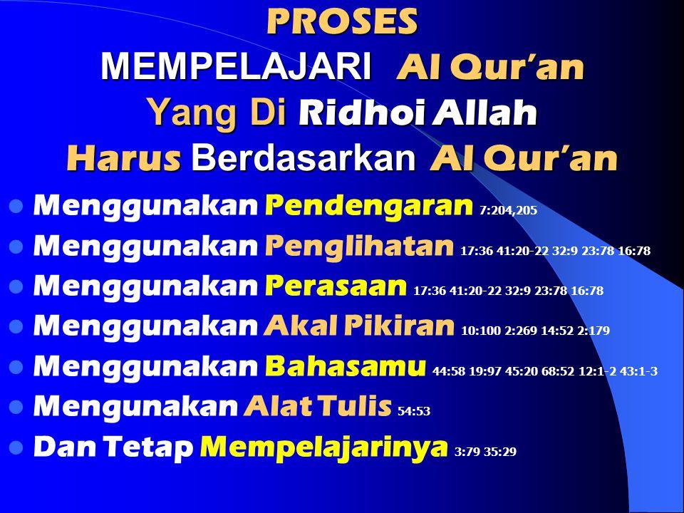 PROSES MEMPELAJARI Al Qur'an Yang Di Ridhoi Allah Harus Berdasarkan Al Qur'an