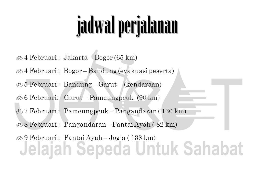 jadwal perjalanan 4 Februari : Jakarta – Bogor (65 km)