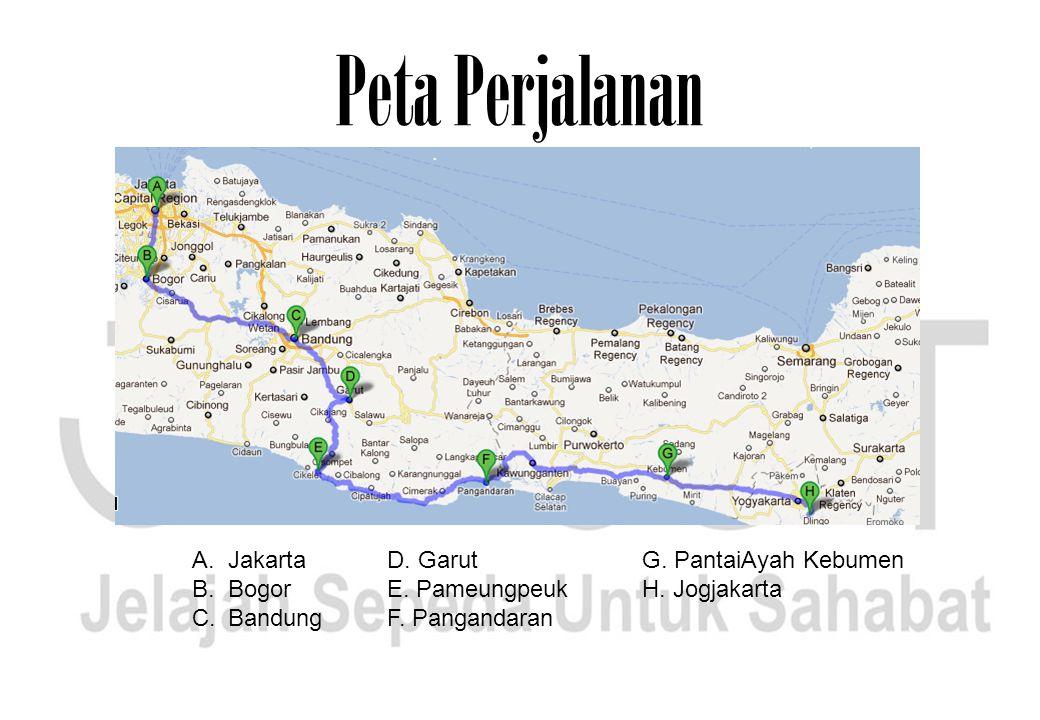 Peta Perjalanan Jakarta Bogor Bandung D. Garut E. Pameungpeuk